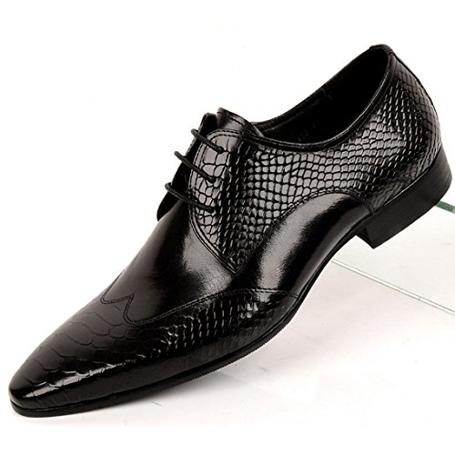 Fulinken Men Genuine Leather Oxford Shoes Lace up Brogue Shoes Formal Dress Shoes