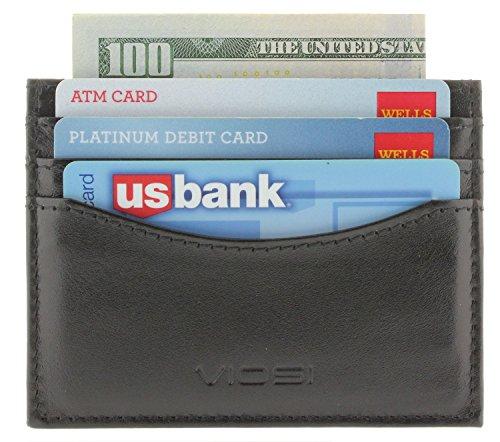 Viosi RFID Mens Genuine Leather Slim Credit Card Holder Front Pocket Wallet