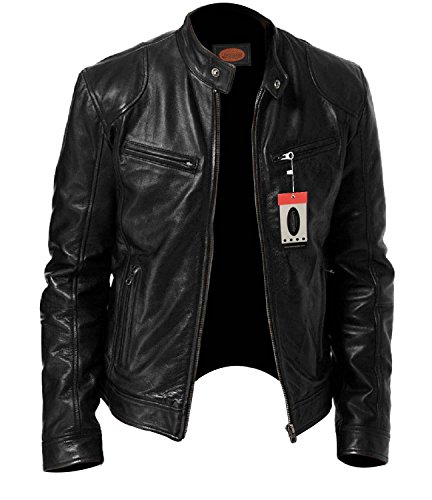 Lasumisura Men's SWORD Black Genuine Lambskin Leather Biker Jacket – 1510533 + FREE Dust Cover + Free Leather Cleaning Cloth