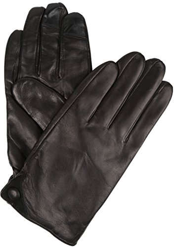 Sakkas Damen Mens Classic Touch Screen Compatible Real Leather Gloves