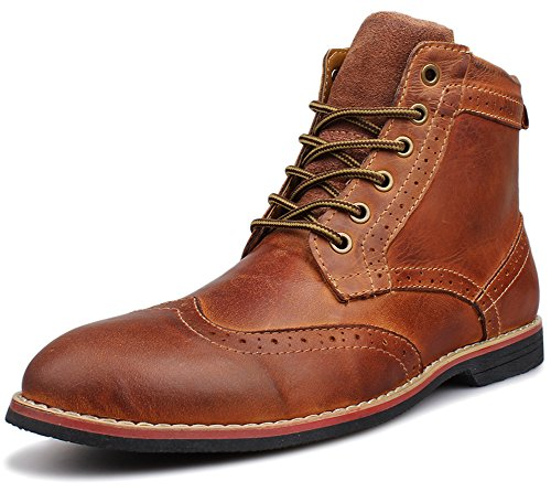 Kunsto Men's Leather Lace up Dress Boot