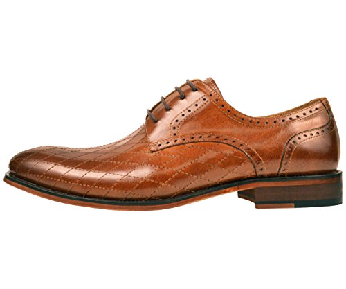 Asher Green Mens Contemporary Tan Genuine Leather Quilted Plain Toe Oxford Dress Shoe: AG369-028