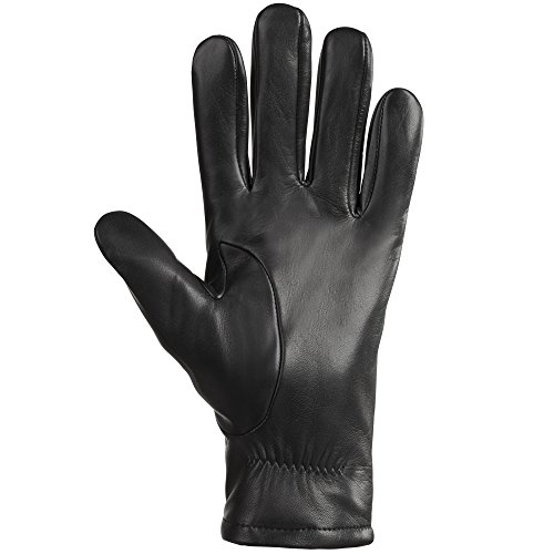 Isotoner Gloves for Men – Leather with Partial Back Gather, Ultra Plush Lining
