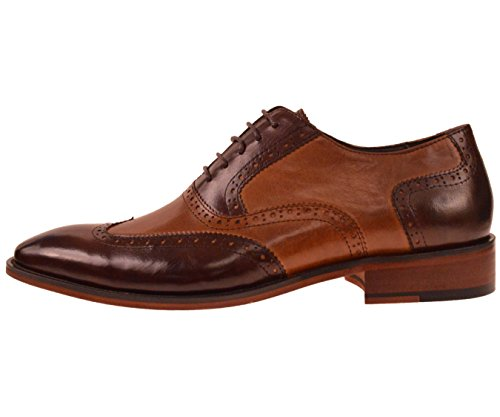 Asher Green Mens Two Tone Ombre Brown / Cognac Genuine Leather Wingtip Oxford Dress Shoe: AG100-065