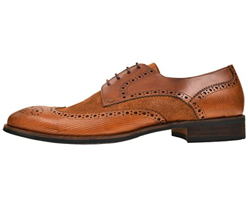 Asher Green Footwear Mens Tan Genuine Leather and Waxy Suede Wingtip Oxford Dress Shoe : AG1034-028