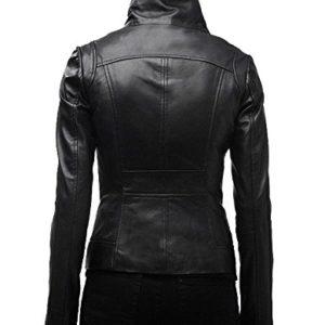 Women/'s Genuine Lambskin Leather Moto Jacket Black LL896