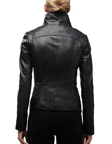 Exemplar Women's Genuine Lambskin Leather Moto Jacket Black LL896