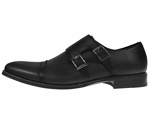 Asher Green Mens Black Genuine Leather Classic Double Monk Strap Dress Shoe with Cap Toe: Style Stowe Black-000