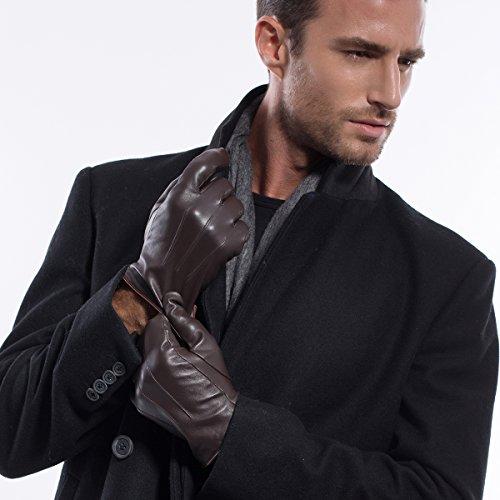 Luxury Men Winter Warm Lambskin Leather Gloves NMG1006