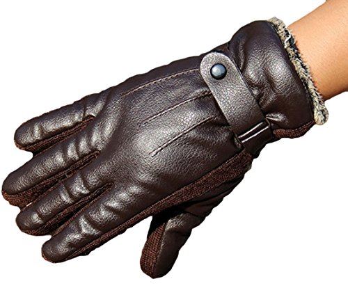 Soft Direct Men's Winter PU Leather Gloves Driving Drive/work/motorcycle Glove
