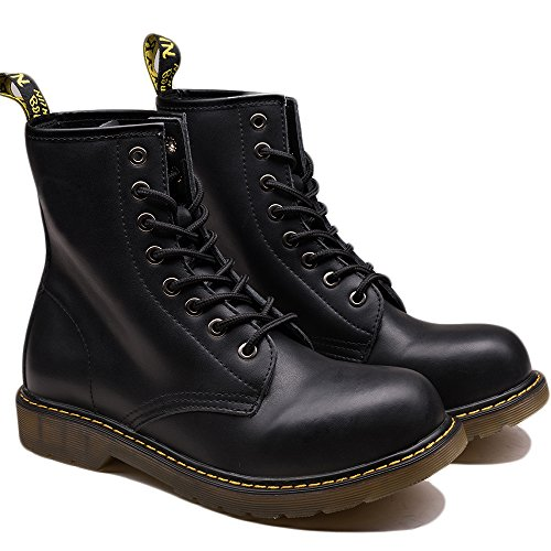 OUOUVALLEY Men's Lace-Up Genuine Leather Waterproof Combat Boots