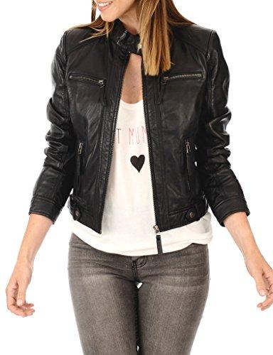 Leather Planet Women's Lambskin Leather Bomber Biker Jacket