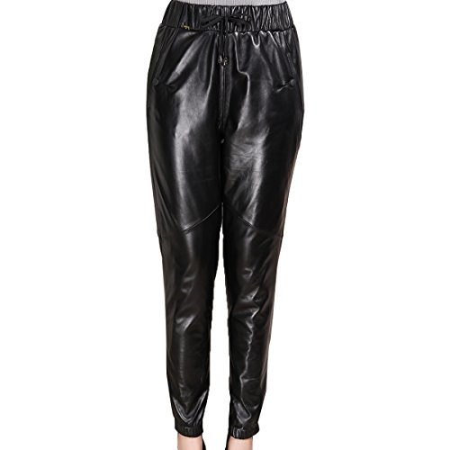 Humiture modern Lady's Leather Pants genuine Sheepskin Leather Pants 5526