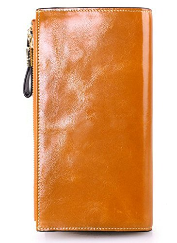 ilishop Women's Large Capacity Wax Genuine Leather Wallet With Zipper Pocket Card Holder