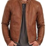 Mens Stylish Fashionable Slim Fit Motorcycle Bomber Leather Jacket KL463
