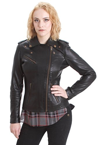 Faneema Riva Moto Lambskin Leather Jacket for Women, Black