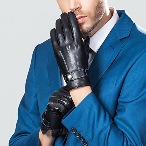 CASF Men's Warm Lambskin Genuine Leather Gloves For Men Winter Driving