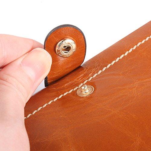 AINIMOER Luxury Large Women's Genuine Leather Long Zipper Wallet Ladies Clutch Purse