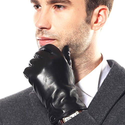 Bestselling Men's Touchscreen Texting Winter Warm Driving Leather Gloves Leather Button (Cashmere Lining)