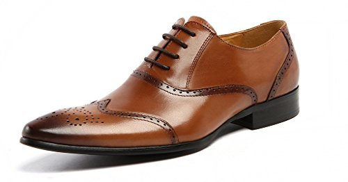 DeliverSmile Mens Cowhide Genuine Leather Lace-up Breathe Freely Wing Tip Oxford Shoes