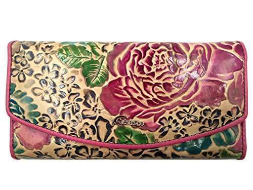 ArtsEye Peony Embossed Genuine Leather Trifold Wallet Clutch Purse