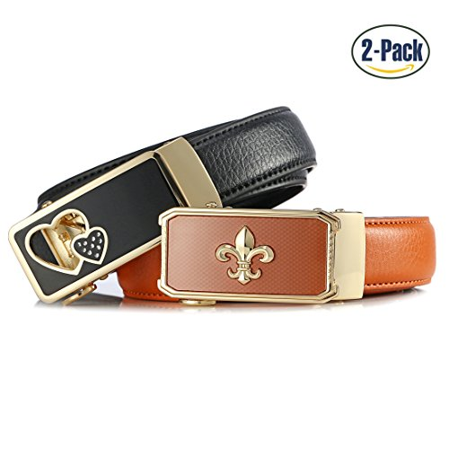 Set of 2 Women's Sliding Skin Buckle Belts Design with Automatic Ratchet Leather Belt For ANDY GRADE
