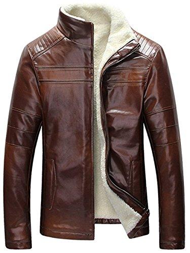 ZSXJZYCC Men's Winter Warm Sheep Skin Genuine Leather Coat Jacket Lamb Wool Lined