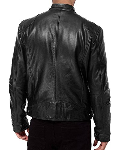 Laverapelle Men's SWORD Black Genuine Lambskin Leather Biker Jacket – 1510533 + FREE Dust Cover + Free Leather Cleaning Cloth