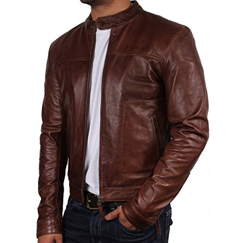 Brandslock Mens Biker Leather Bomber Jacket Coat Designer