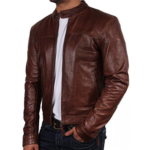 Brandslock Mens Biker Leather Bomber Jacket Coat Designer ...