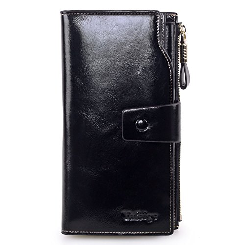 Yafeige Women's Large Capacity Oil wax cowhide Leather Purse Genuine Leather Wallet With Zipper Pocket