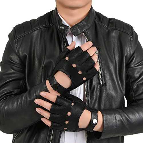 GSG Mens Fingerless Genuine Leather Driving Gloves Half Finger Fitness Motorcycle Backless Unlined