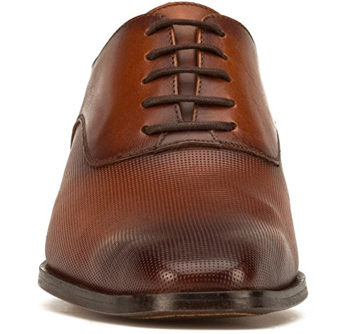 Brown Flat Oxford Textured Genuine Leather Formal Men Dress Shoes