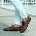 Fansela(TM) Men's Genuine Leather Handmade Summer Breathable Mesh Sweing Shoes Size 8.5 (Brown)