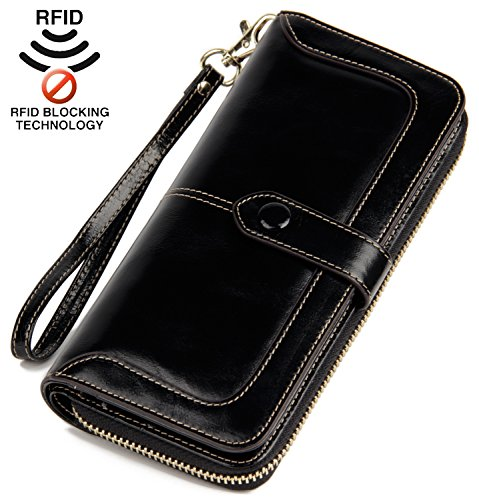 Anvesino Women's RFID Blocking Real Leather Wallet Ladies Zipper Wristlet Clutch