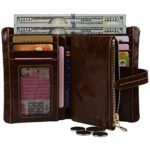 YALUXE Women's Small Compact Genuine Leather Wallet with Coin Pocket ID Window
