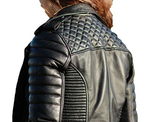 LondonCraze Women New Biker Leather Jacket Black