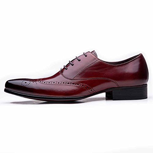 Fulinken Men Genuine Leather Oxford Shoes Lace up Slip on Boots Brogue Shoes Formal Dress Shoes