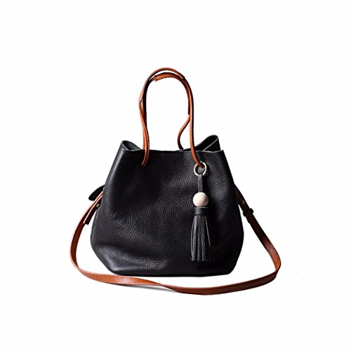Naladoo Womens New Fringed Cowhide Handbag Sling Drawstring Vintage Personalized One Shoulder Bag Bucket Bag