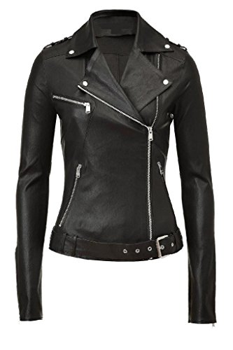 Exemplar Women's Genuine Lambskin Leather Moto Jacket Black LL897