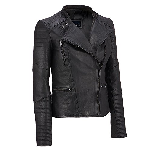 Wilsons Leather Womens Asymmetric Leather Moto Jacket W/ Quilting Details