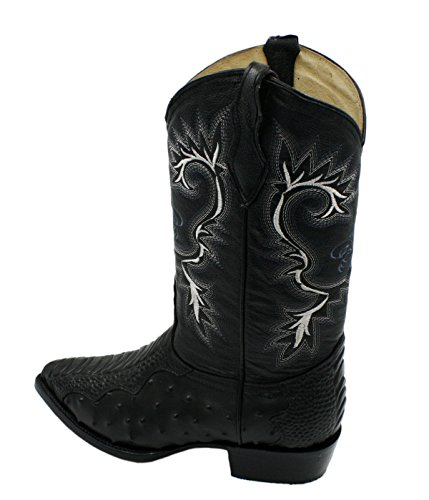 Men genuine cowhide ostrich and crocodile print leather J Toe cowboy boots