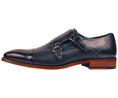 Asher Green Mens Navy Blue Genuine Leather Perforated Cap Toe Double Monkstrap Dress Shoe : AG1101-002