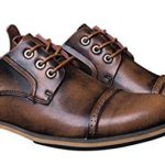CAIHEE Men's New Casual Leather Oxford Shoes Lace Up