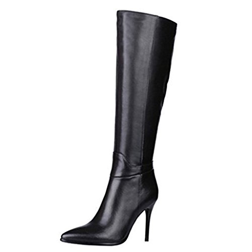 VOCOSI Knee High Side Zip Genuine Leather Pointed Toe Stiletto Boots for Women