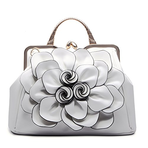 Women Handbag Tote Purse Shoulder Bag Flower PU Leather Crossbody Top Handle Bags By Celsino
