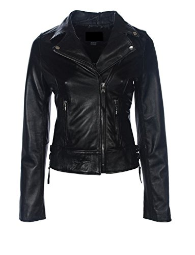 Hryfashion Women Trendy Zippered Leather Jacket