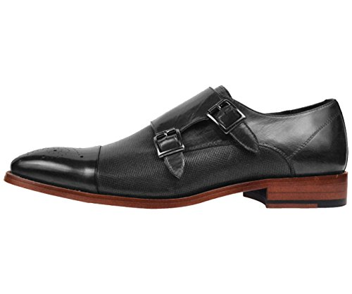 Asher Green Mens Black Genuine Leather Perforated Cap Toe Double Monkstrap Dress Shoe : AG1101-000