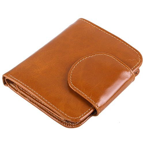 AINIMOER Women's Small Compact Billfold Leather Tri-Fold Wallet with Zipper Pocket