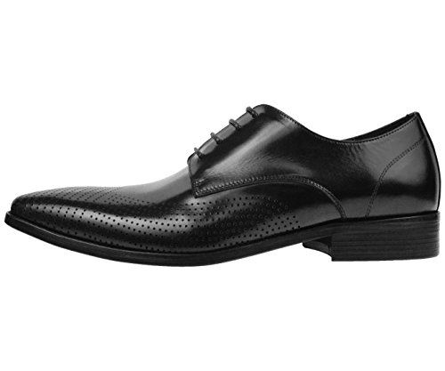 Asher Green Mens Black Genuine Leather Contemporary Perforated Plain Toe Oxford Dress Shoe : AG7876-000